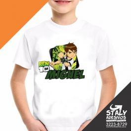Camiseta Infantil Poliester Branca Impressão 20x20 4x0