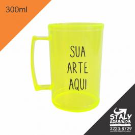 Caneca Amarelo Neon 300ml =Acrilico  1x0  =Brilho =300ml
