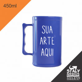Caneca Azul Fechado =Acrilico  1x0  =Brilho =450ml