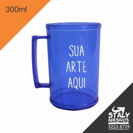 Caneca Azul transparente 300ml =Acrilico  1x0  =Brilho =300ml