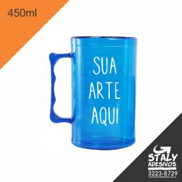 Caneca Azul transparente =Acrilico  1x0  =Brilho =450ml
