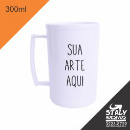 Caneca Branca 300ml =Acrilico  1x0  =Brilho =300ml