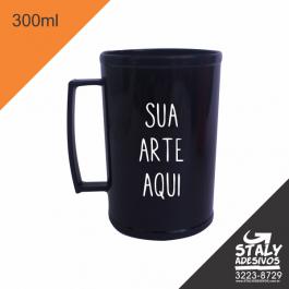 Caneca Preta 300ml =Acrilico  1x0  =Brilho =300ml