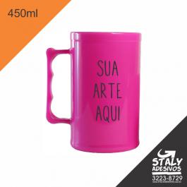 Caneca Rosa Fechado =Acrilico  1x0  =Brilho =450ml