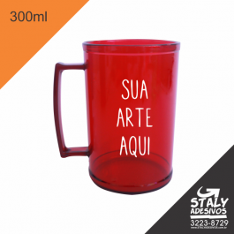 Caneca Rosa Neon 300ml =Acrilico  1x0  =Brilho =300ml