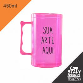 Caneca Rosa Neon =Acrilico  1x0  =Brilho =450ml