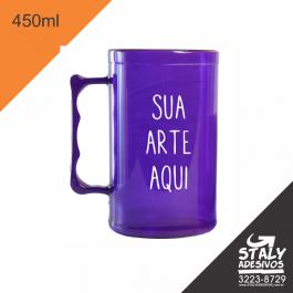 Caneca Roxa =Acrilico  1x0  =Brilho =450ml