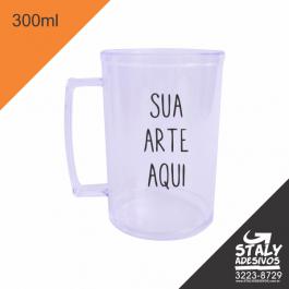 Caneca Transparente 300ml =Acrilico  1x0  =Brilho =300ml