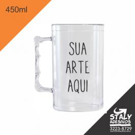 Caneca Transparente =Acrilico  1x0  =Brilho =450ml