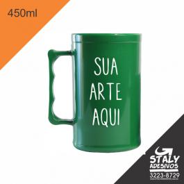 Caneca Verde Fechado =Acrilico  1x0  =Brilho =450ml