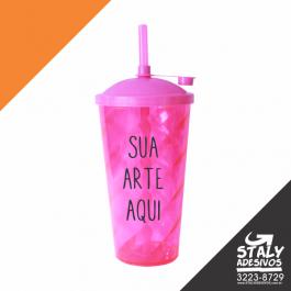 Copo Twister Rosa Neon Acrilico  4x0 Com tampa Brilho 550ml
