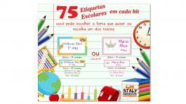 Kit Escolar Adesivo Vinil 75 etiquetas no total  Brilho  Kit contém ==15 unidades 8x5  == 10 unidades 7x2 == 50 unidades 4x1