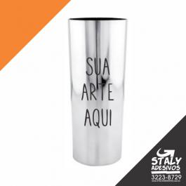 Long Drink Metalizado Prata Acrilico  1x0 Metalizado Prata Brilho 340ml