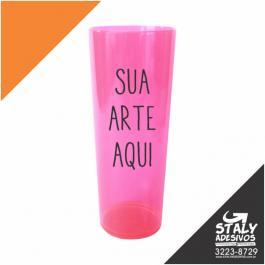 Long Drink Rosa Neon Acrilico Poliestireno  1x0  Brilho 350ml