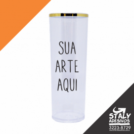 Long Drink Tranparente com Borda Dourada Acrilico  1x0  Brilho 350ml