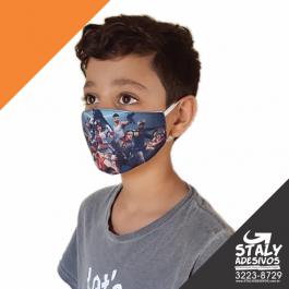 Mascara Personalizada Poliester e Algodão  4x0 2 camadas Elastico Lavavel