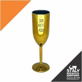 Taça Champanhe Metalizada Dourada Acrilico Poliestireno  1x0 Dourado Brilho 200ml