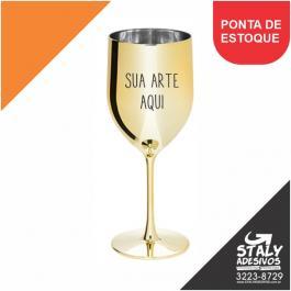 Taça Vinho Metalizada Acrilico  1x0 Dourada Brilho 400ml